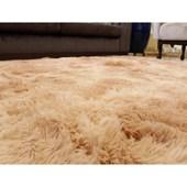 Tapete Carpete Pelo Alto Peludo Macio Bege Mesclado 3,00x2,00 m + Brinde para Sala de Estar Recepção Quarto - AM Decor