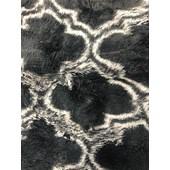 Tapete Carpete Pelo Baixo Mosaico Macio 300x200 cm Cinza e Branco para Sala de Estar Recepção Quarto Escritório - AM Decor