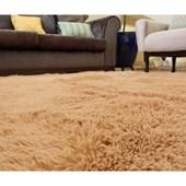 Tapete Carpete Peludão para Sala de Estar Bege Liso 3,00x2,00 m + Brinde para Sala de Estar Recepção Quarto - AM Decor