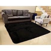 Tapete Carpete Peludo Macio Preto Liso 3,00x2,00 m + Brinde para Sala de Estar Recepção Quarto - AM Decor