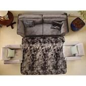Tapete Carpete Peludo Macio Preto Mesclado 3,00x2,00 m + Brinde para Recepção Sala de Estar Quarto - AM Decor