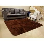 Tapete Carpete Peludo Marrom 3,00x2,00 m + Brinde para Sala de Estar Quarto Recepção - AM Decor