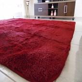 Tapete Peludo Peludinho Peludão Macio 200x240 cm Vermelho para Recepção Sala de Estar Quarto - AM Decor